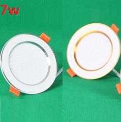 Đèn LED âm trần đổi màu 7w viền bạc/vàng, đèn trang trí giá rẻ